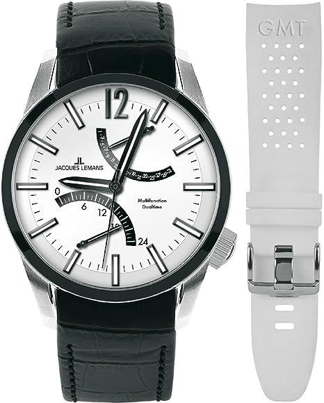 JACQUES LEMANS Liverpool GMT 1-1583C - Reloj de cuarzo para hombre, correa de