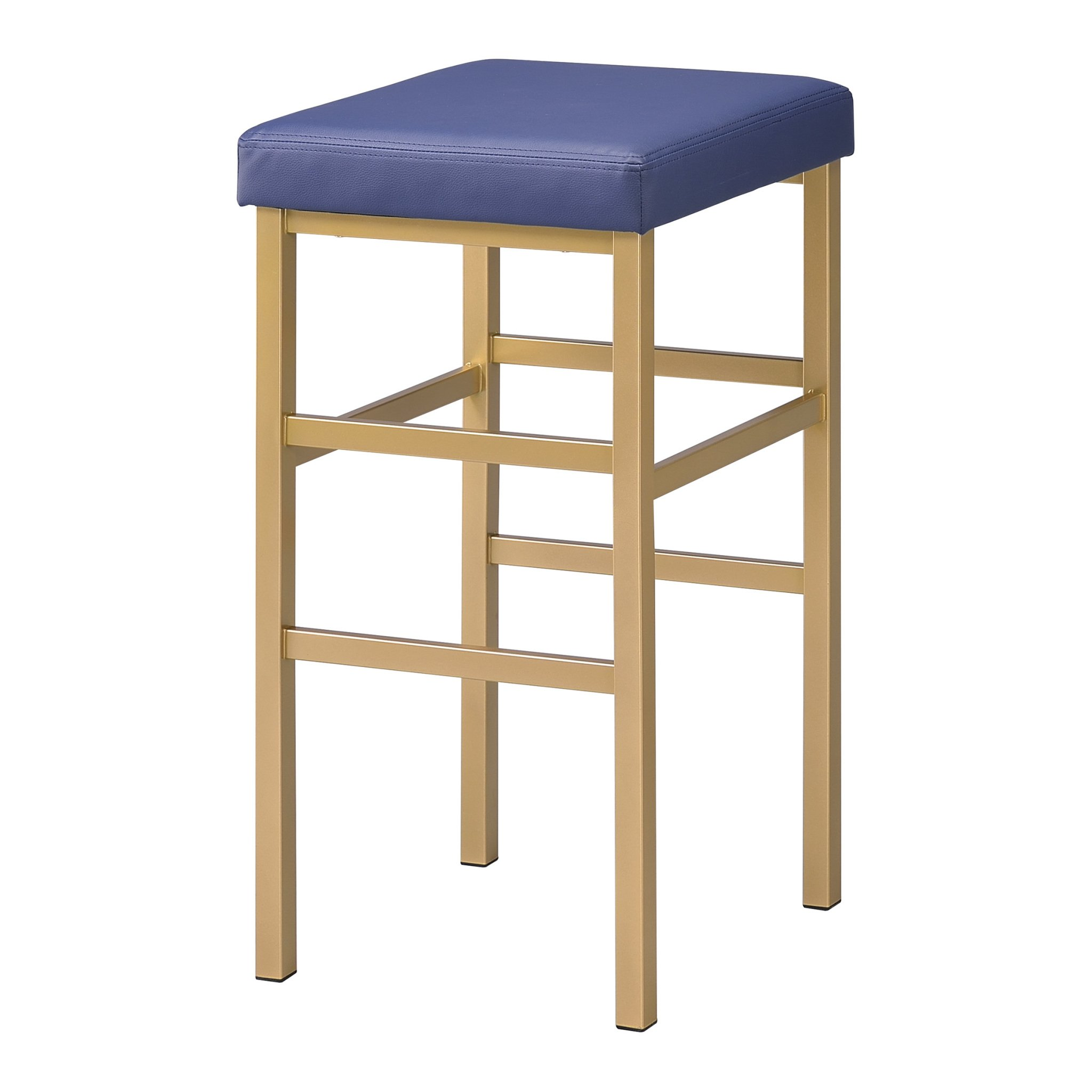 Office Star Backless Stool with Gold Frame, 30-Inch, Blue