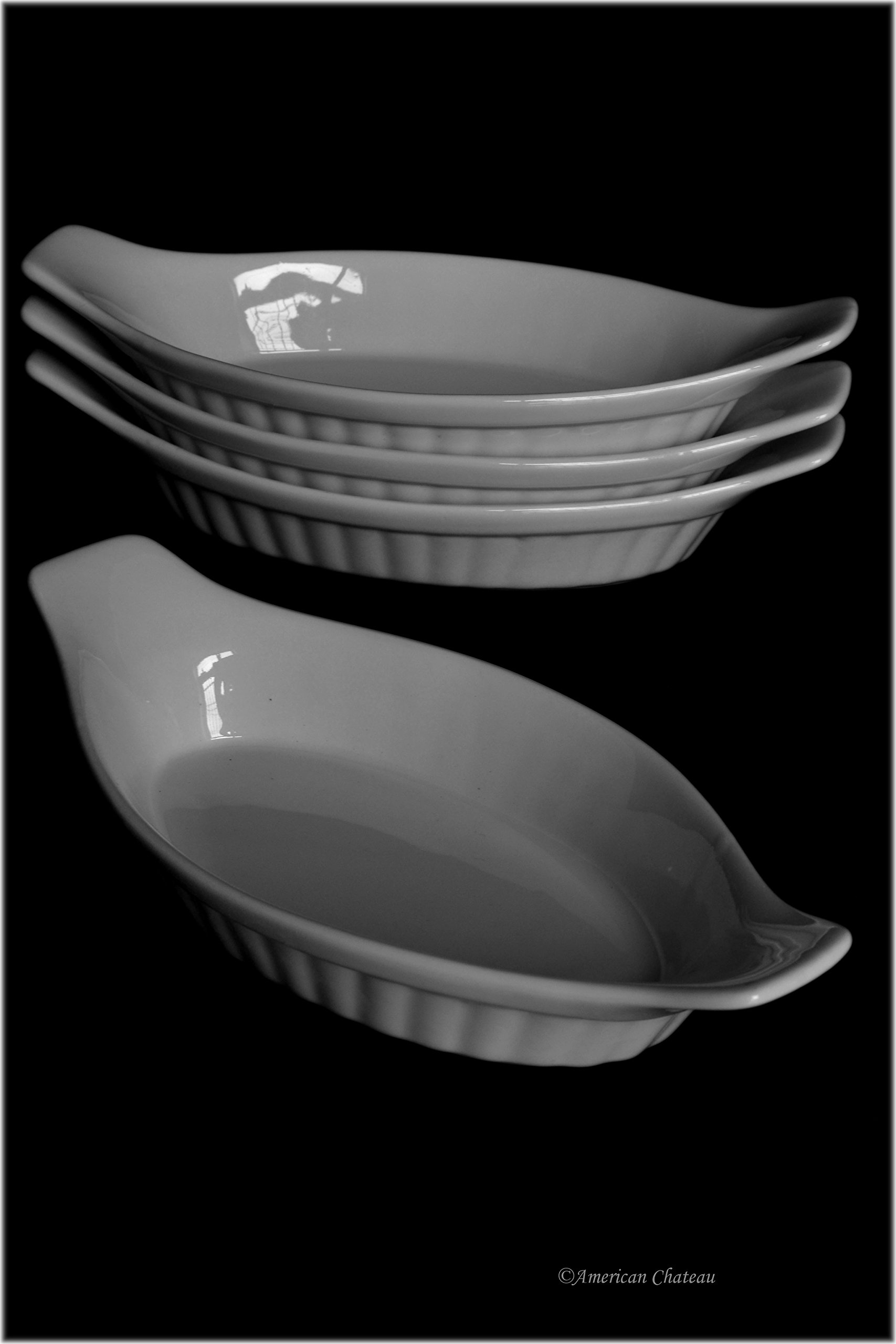 Set 4 Oval 9'' Oven-Safe White Porcelain Appetizer Au Gratin Dishes with Handles