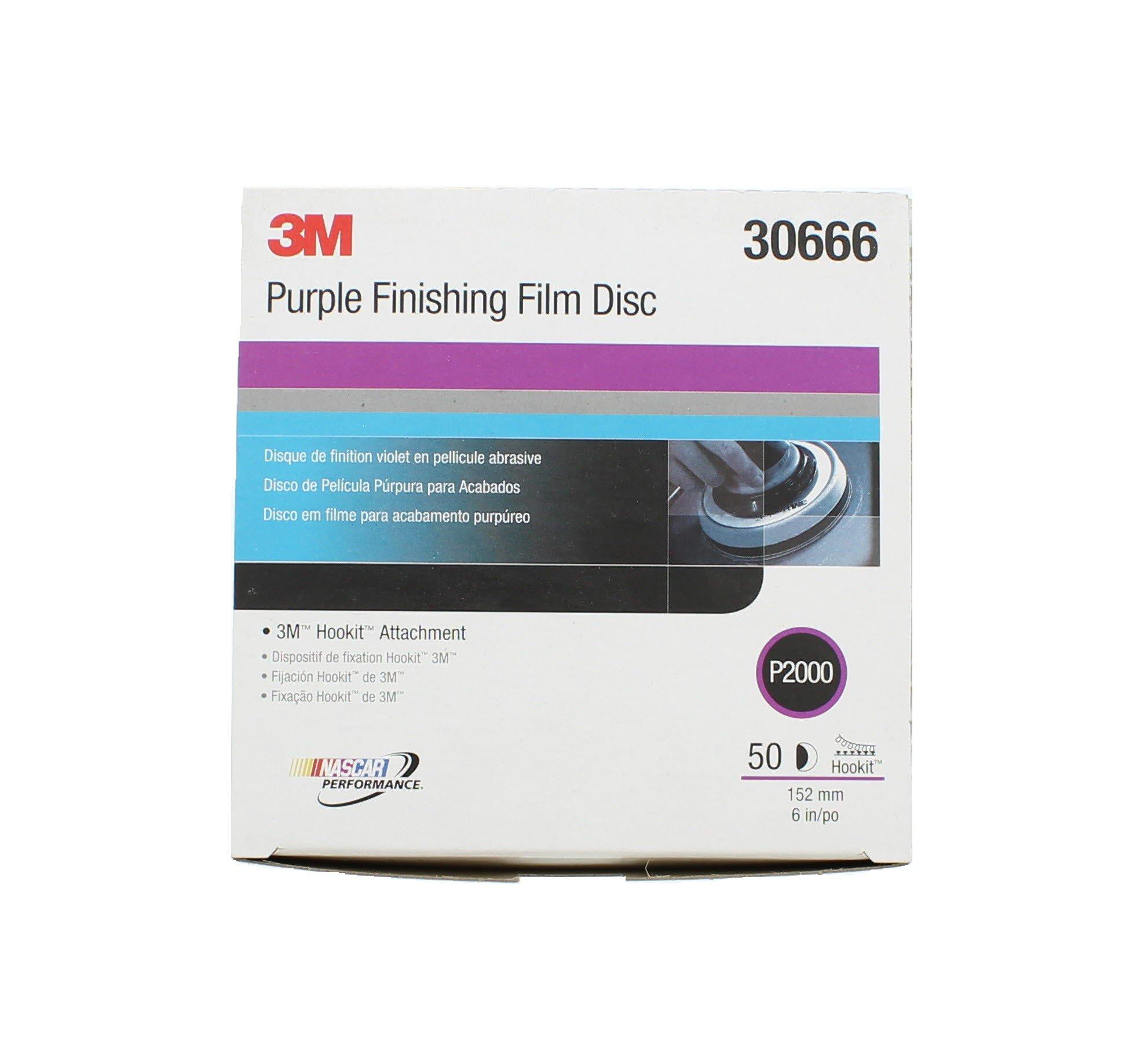 3M 30666-50PK Hookit 6'' Purple Finishing Film Disc, (Pack of 50)