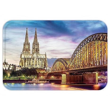 kisscase Custom puerta mateuropean Cityscape Decor Illuminated Dom en Colonia antiguo puente y Rin al atardecer