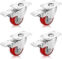 PARLOS 3 Inch Heavy Duty Caster Wheels Threaded Stem Mount Swivel Castors on ...