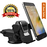 CQLEK® 1Press Car Mobile Phone Holder - Telescopic One Touch Long Neck Arm Adjustable Quick Stand Technology 360 Degree Rotation with Ultimate Reusable Suction Cup Mount for Dashboard / Windshield / Desktop