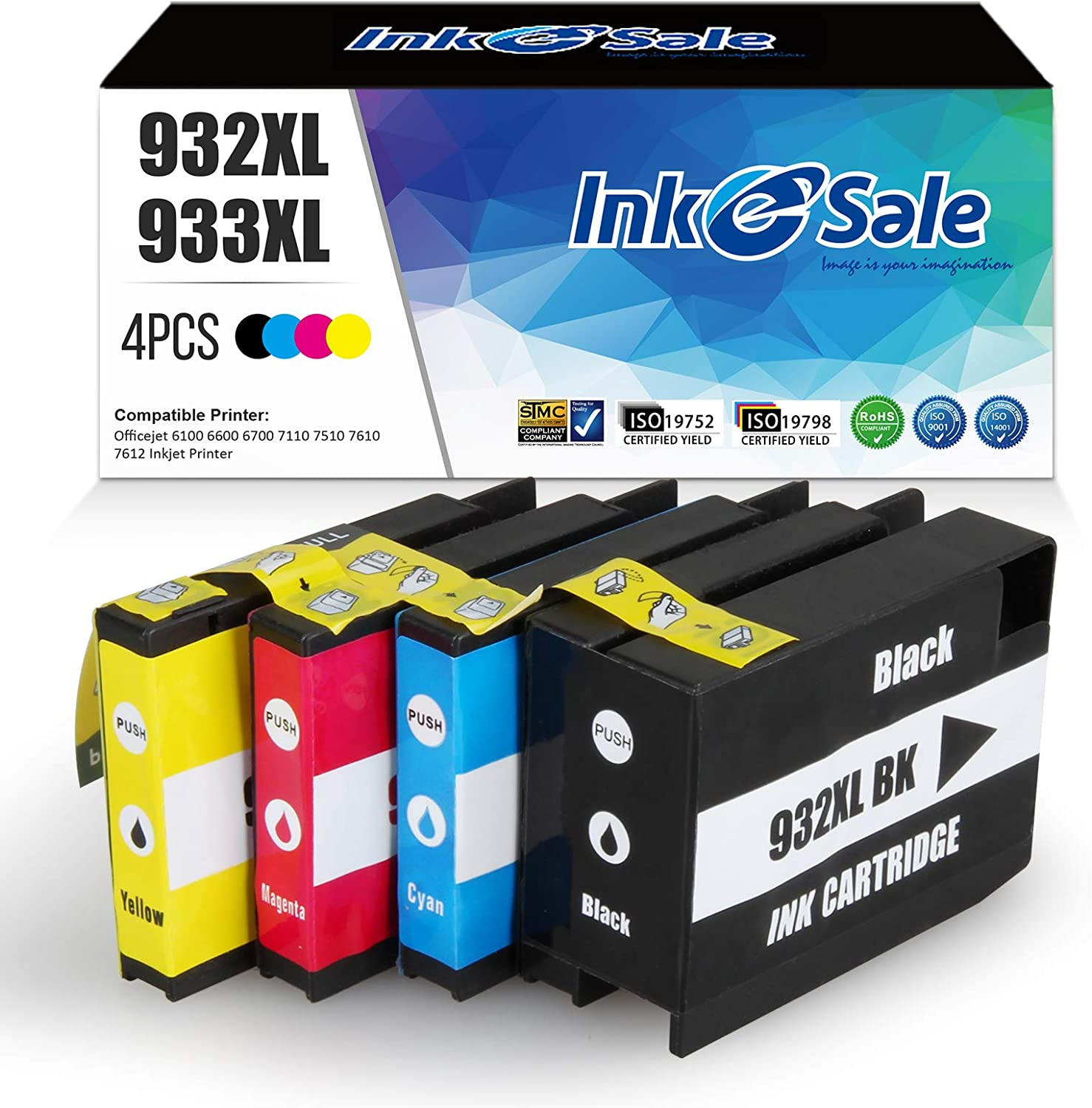 INK E-SALE Compatible 932 XL 933 XL Ink Cartridge Replacement for HP 932XL 933XL 932 933 combo pack for HP Officejet 6700 6600 6100 7610 7110 7612 7610 7510 Printer (4 Pack, Black Cyan Magenta Yellow)