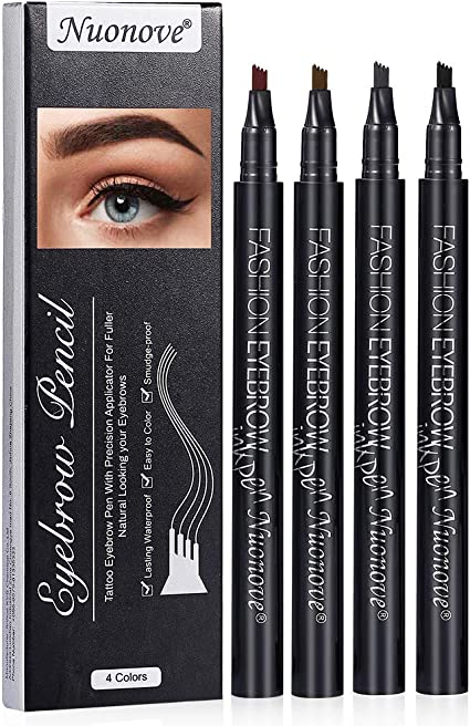 Eyebrow Pencil, Lapiz Cejas, Tattoo Eyebrow Pen, Lápiz de Cejas con 4 Puntas de Tenedor Impermeable, Pluma de la Ceja del Tatuaje, larga duración, ...