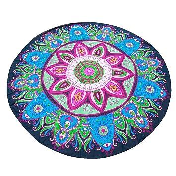 Toalla de playa redonda, amlaiworld tapices en muselina de seda Hippie redonda playa de Bohemia Jeter la toalla alfombra de Yoga, algodón, azul, ...