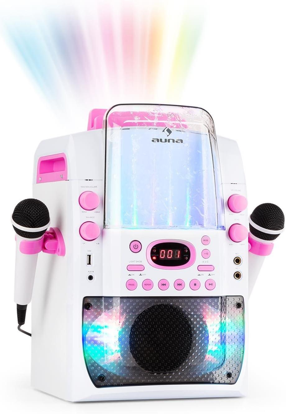 Amazon.es: Auna Kara Liquida BT • Equipo de karaoke • Juego de karaoke • Para niños • Efecto luminoso LED multicolor con fuente de agua • Puerto USB con MP3 • Bluetooth •