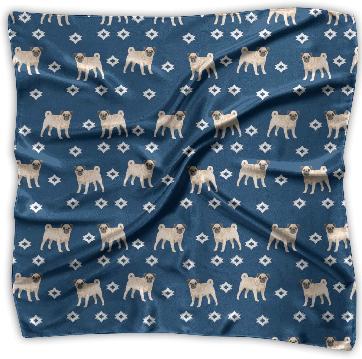 Pañuelo, popular amante de los perros Pugs Pañuelo de seda azul marino, elegantes diademas cuadradas para caballo de montaña Ridi