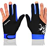 MIFULGOO Man Woman Elastic 3 Fingers Show Gloves for Billiard Shooters Carom Pool Snooker Cue Sport - Wear on The Right…