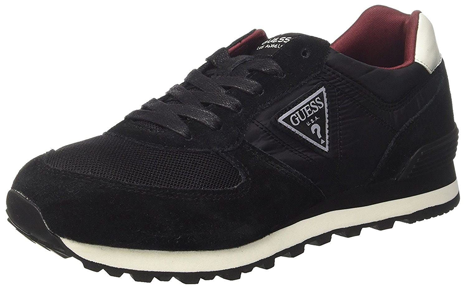 #Guess Charlie Black White Suede Mens Trainers Shoes