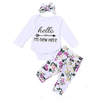 3PCS Newborn Baby Girl Romper Jumpsuit+Floral Pants Headband Outfits Clothes Set