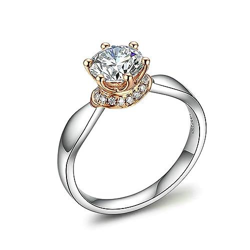 Anyeda Mujer Anillo de Compromiso 18K Gold Seis Garra Diamante Cómodo para La Boda, Compromiso: Amazon.es: Joyería
