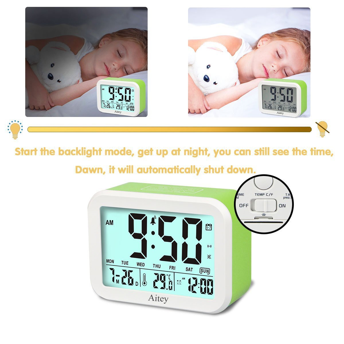 Digital Alarm Clock, Aitey Talking Clock with 3 alarms, Optional Weekday Alarm, Intelligent Noctilucent & Snooze Function, Month Date & Temperature Display for Adults, Kids & Teens (Green) by Aitey (Image #5)
