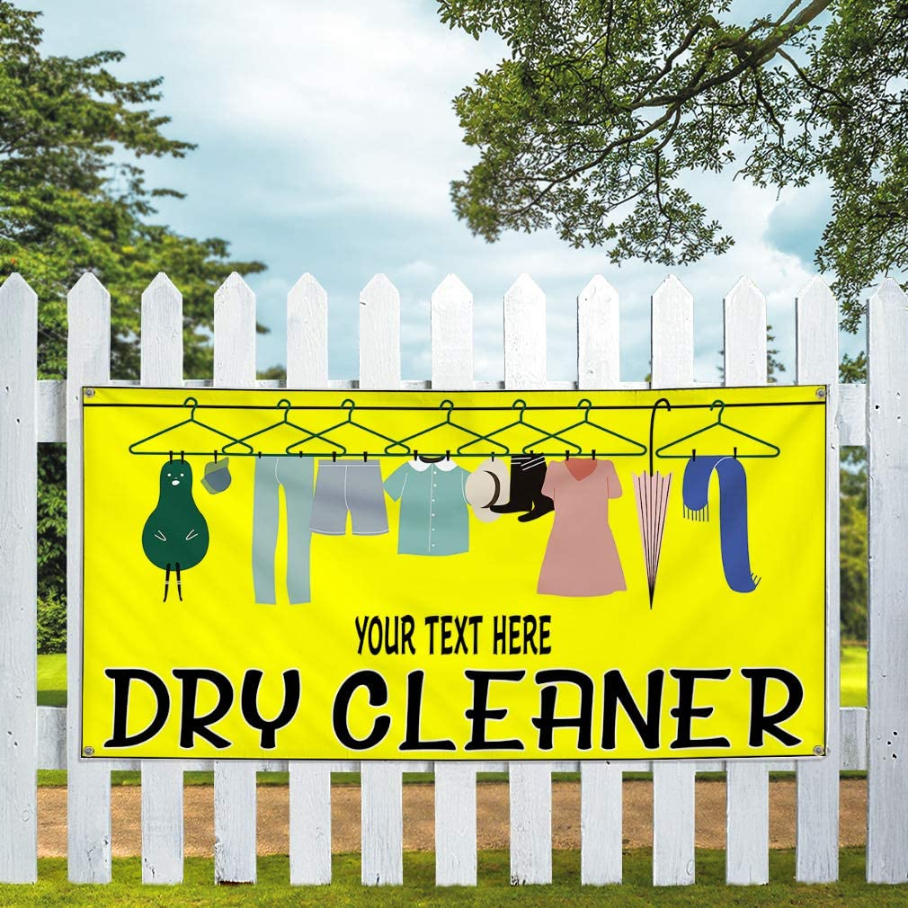 Custom Industrial Vinyl Banner Multiple Sizes Dry Cleaner Personalized Text Home Outdoor Weatherproof Yard Signs Yellow 10 Grommets 60x120Inches