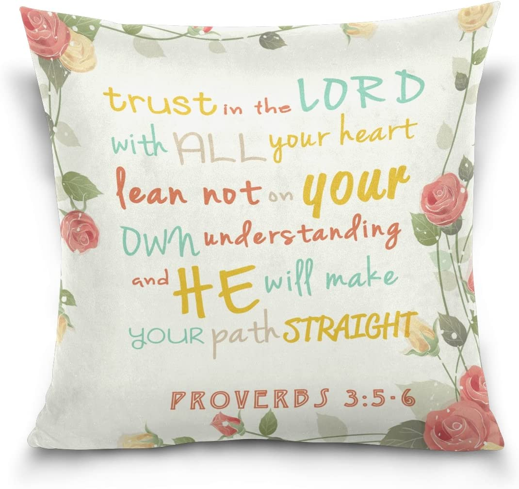 ALAZA Double Sided Pillow Covers Trust in The Lord Bible Verse Red Rose Cotton Velvet Throw Pillow 18x18 Inch Zipper Pillowcase for Decorative Pillows