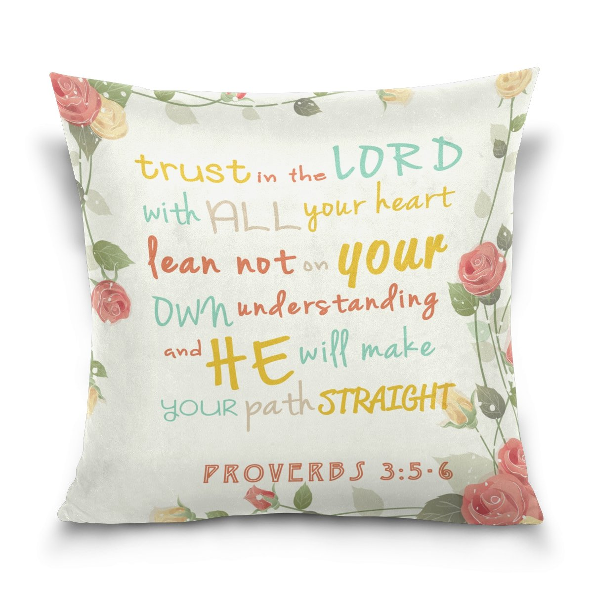 Double Sided Trust in The Lord Bible Verse Red Rose Cotton Velvet Throw pillow 18x18 Inch Zipper pillowcase for Decorative Pillows by ALAZA