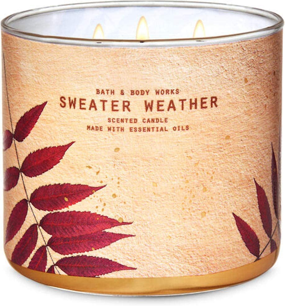 White Barn Candle Company Bath and Body Works 3-Wick Scented Candle w/Essential Oils - 14.5 oz - B&BW Sweater Weather