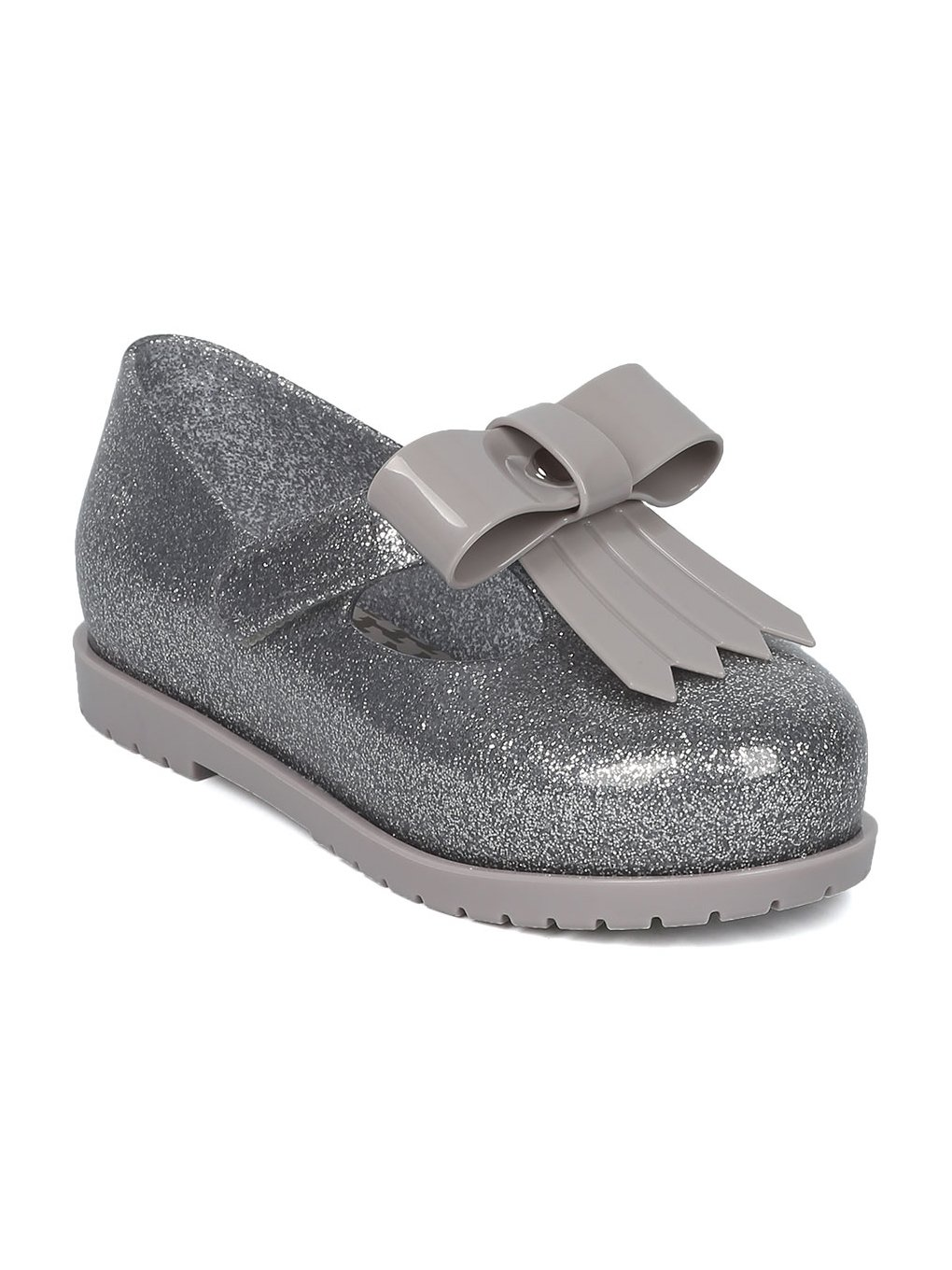 Melissa Mini Mini Classic Baby II Bow Tie Mary Jane Walker Flat HC07 - Glass Silver (Size: Toddler 7)
