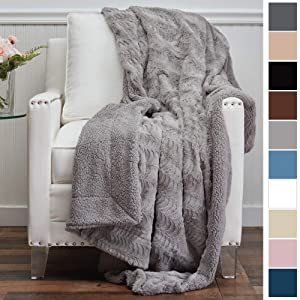 The Connecticut Home Company Luxury Faux Fur with Sherpa Reversible Throw Blanket, Super Soft, Large Wrinkle Resistant Blankets, Warm Hypoallergenic Washable Couch or Bed Throws, 65x50, Silver