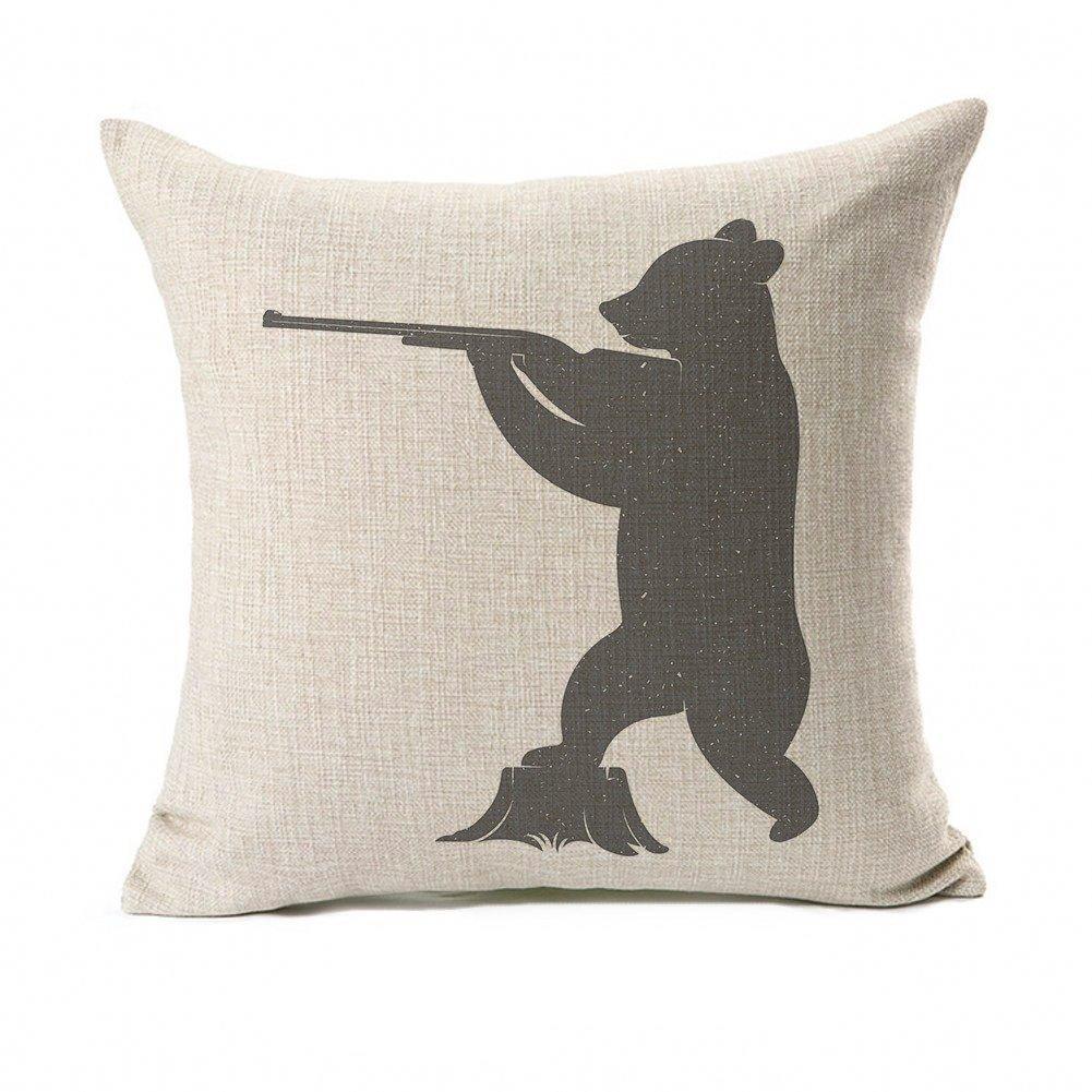 Silhouette Funny Bear Throw Pillow Case Cushion Cover 18 x 18
