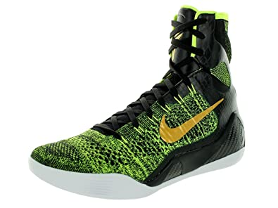 reputable site b43c3 4d371 Nike Kobe IX Elite Mens Basketball Shoes 630847-077 Black Metallic  Gold-Volt-