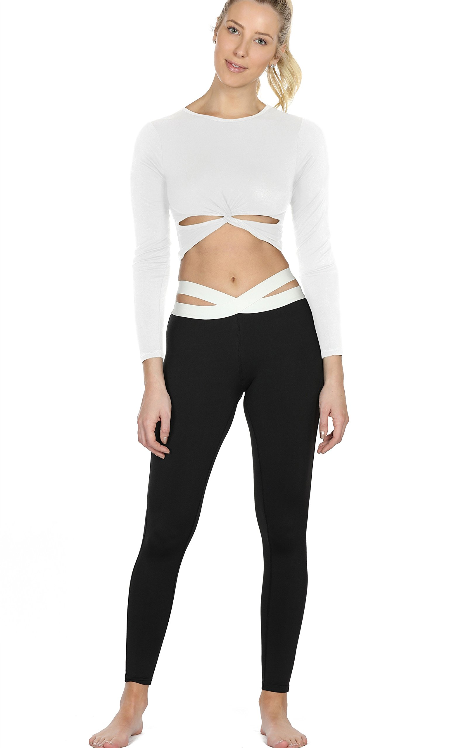 icyzone Long Sleeve Crop Tops for Women - Activewear Workout Yoga Gym Lounge T Shirts (White, XL)