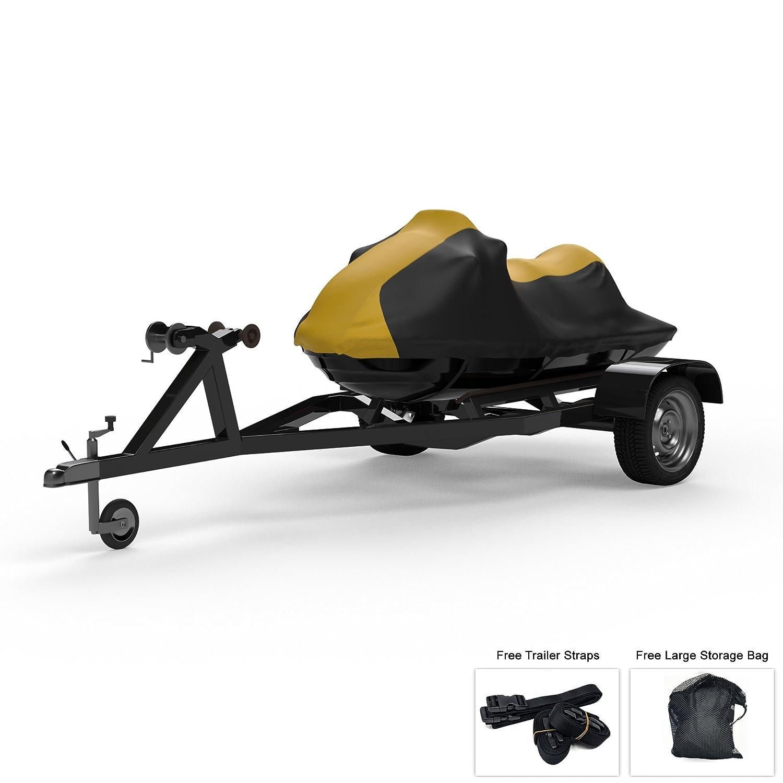 防水ジェットスキーCovers For Sea Doo GTR 215 2012 – 2016 – 複数のカラーオプション – All Weather – Trailerable – Protects紫外線雨、太陽、から、and More 。Includesトレーラーストラップとストレージバッグ B07DJYN197 YELLOW And Black YELLOW And Black