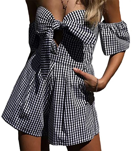 181bcf7a7e Women Sexy Off Shoulder Plaid Playsuit Bow Tie Front Backless Short Jumpsuit  Romper Size L(