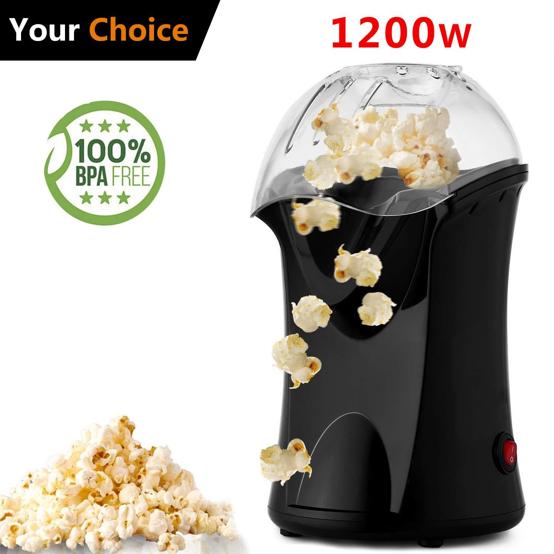 Hot Air Popcorn Maker Electric,Popcorn Machine,Popcorn Popper 1200W(US STOCK) (Black)