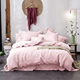 Merryfeel Linen Duvet Cover Set Queen Size, 100% French Linen Luxurious Duvet Cover Set, Natural Flax 3 Pieces Bedding Set (1