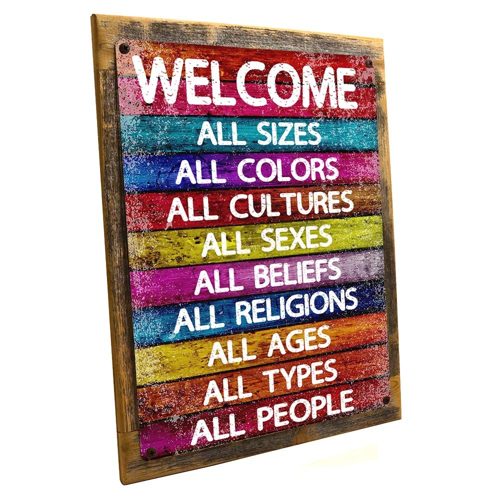 Homebody Accents Framed All Welcome Metal Sign, Equality, Unity, Peace, Positive Living, Love Trumps Hate
