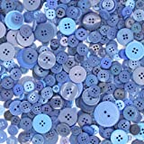 Esoca 650Pcs Resin Blue Buttons Favorite Findings Basic Buttons 2 and 4 Holes Craft Buttons for Arts, DIY Crafts, Decoration, Sewing - Sizes Range from 0.28 to 1.25 inch