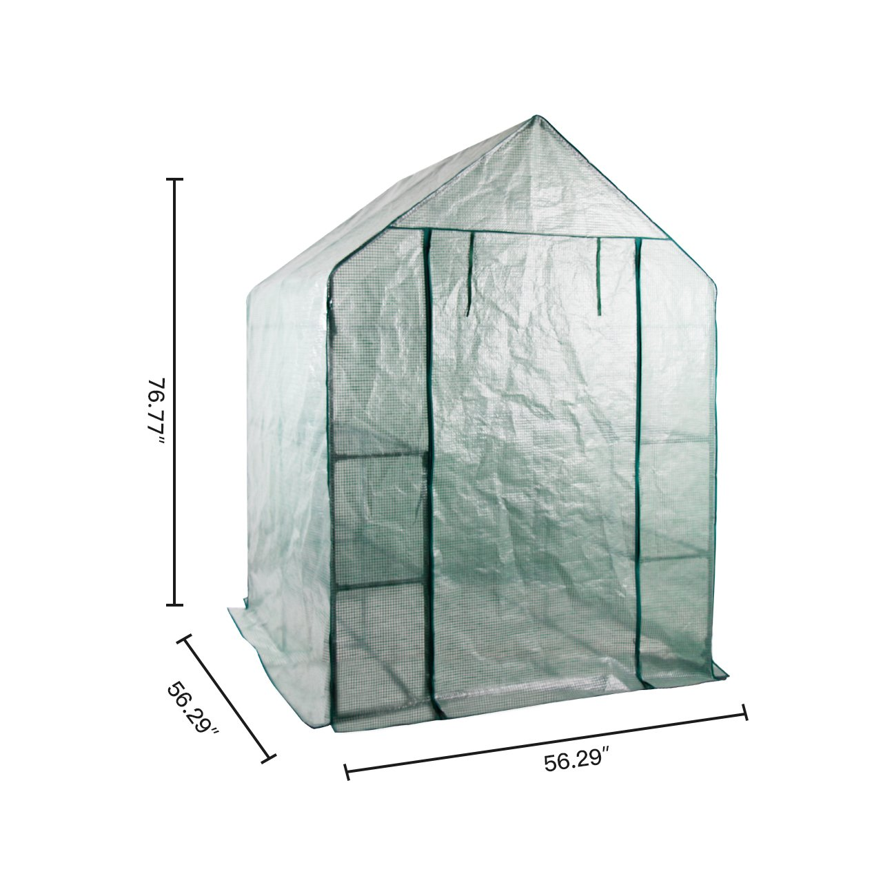AODAILIHB Reinforced PE Net 6 Layers 8 Shelves Greenhouse Suitable for Lawn and Garden Steel Structure Assembly, 8 Fixed Buttons 4 Floor Fasteners, H x L x W:76.77 x 56.29 x 56.29 inch (02) by AODAILIHB (Image #4)