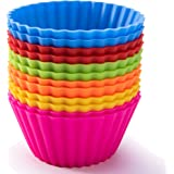Silicone Baking Cups, Jumbo Cupcake Liners Large 3.54 inch Resusable Muffin Cups Non-Stick Muffin Liners Cupcake Baking Cups Stand Alone Cupcake Holder, 12Packs in 6 Rainbow Colors