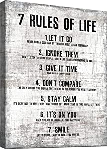 Inspirational Wall Art for Living Room Office Decor - 7 Rules of Life Canvas Wall Art 12x 16inches Print Motivational Quotes Black and White Wall Art Abstract Background Vintage Artwork Rustic Wall Décor Framed Farmhouse Wall Art for Bedroom porch Wall Décor Above Bed Home Boho Wall Décor for Men Women Teen Boys Kids Room décor Workout Posters for Home Gym Family Positive Quotes Wall Décor Modern Rustic Home Decor decoraciones para salas de casa Ready to Hang