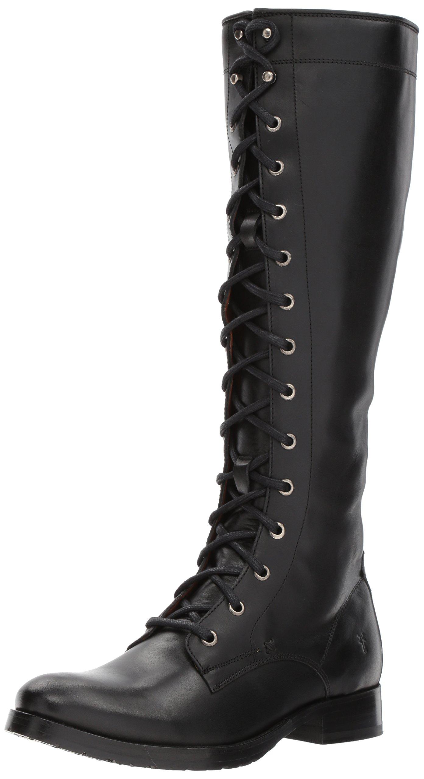 FRYE Women's Melissa Tall Lace Riding Boot, Black, 7 M US