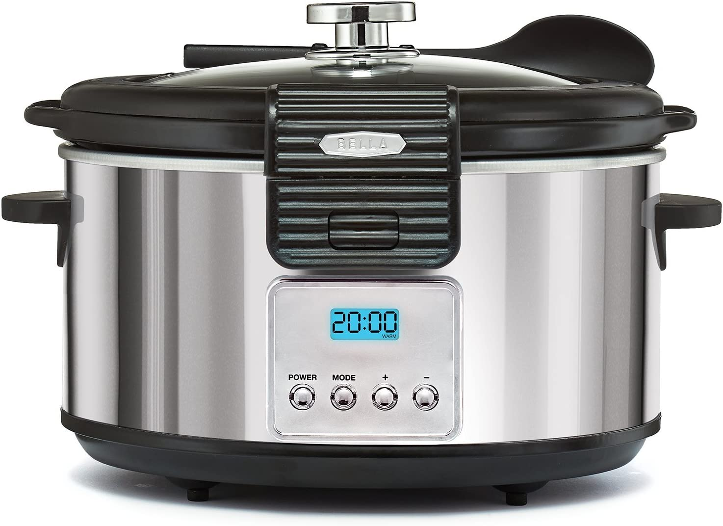 BELLA 5 Quart LINEA Programmable Locking Lid Slow Cooker, Polished Stainless Steel 14389