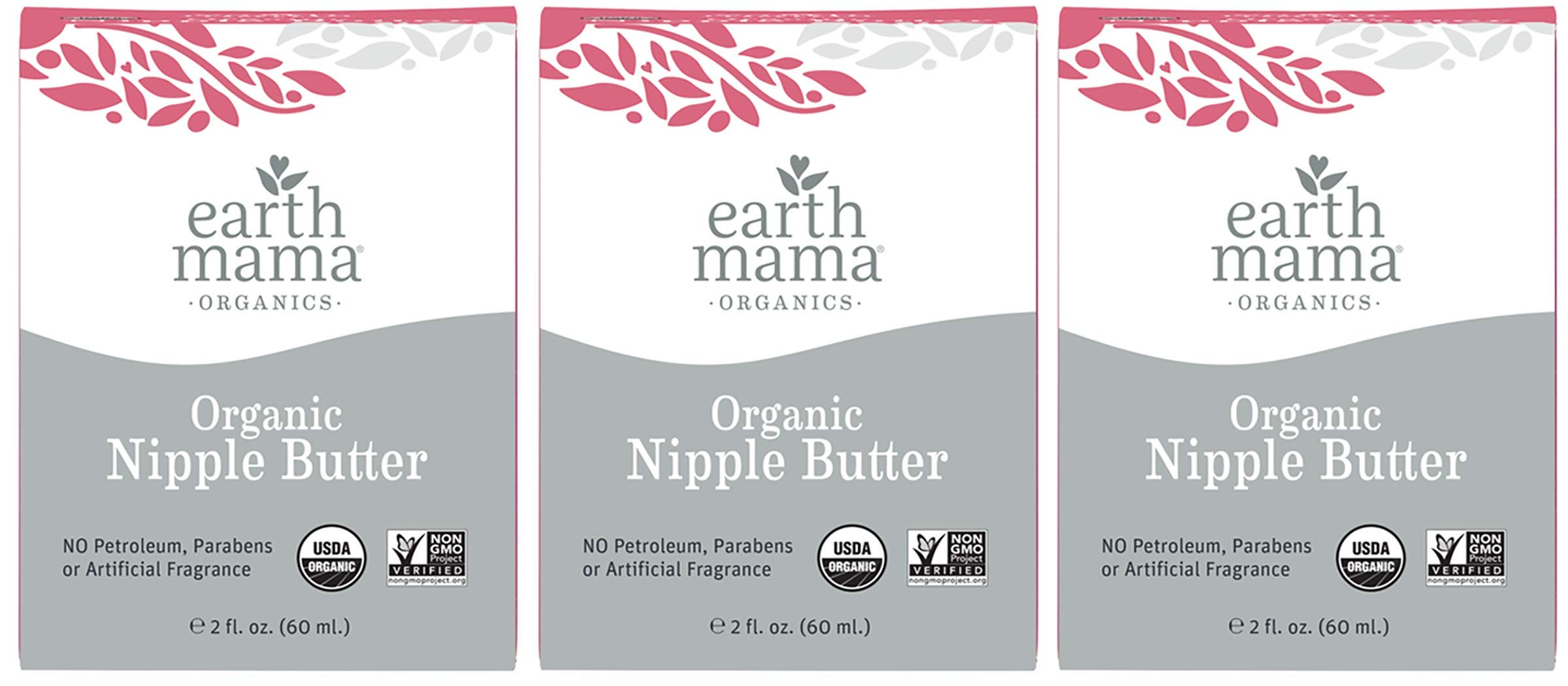 Organic Nipple Butter Breastfeeding Cream by Earth Mama   Lanolin-free, Safe for Nursing & Dry Skin, Non-GMO Project Verified, 2-Fluid Ounce (3-Pack)