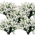 10 Bundles Artificial Flowers Outdoor UV Resistant Fake Plants Indoor Outside Hanging Planter Home Garden Decor