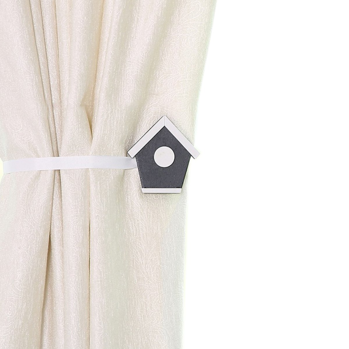 YING CHIC YYC 2 Pcs Lovely House Magnetic Curtain Buckle Tieback Kid's Room Drapey Holder Ribbon Rope (White)