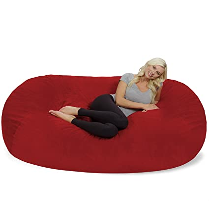 Swell Chill Sack Bean Bag Chair Huge 7 5 Memory Foam Furniture Bag And Large Lounger Big Sofa With Soft Micro Fiber Cover Red Pebble Cjindustries Chair Design For Home Cjindustriesco