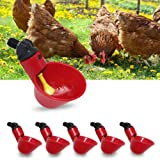 6 Pack Farm & Ranch Automatic Chicken/Poultry Drinkers/Waterers with Cups Watering Cups Bowls Red Plastic Backyards Chicken Flock Duck Bird Water Feeder(6)