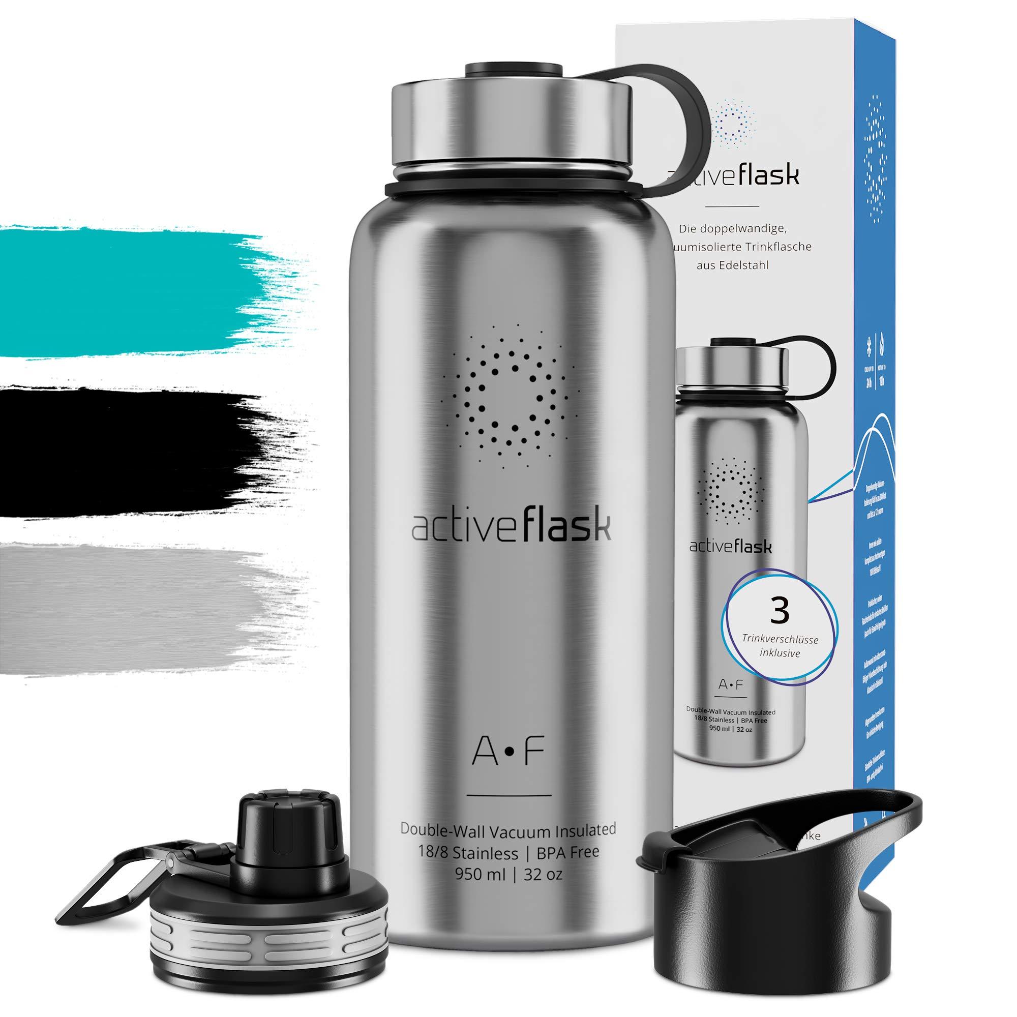 Botella térmica ACTIVE FLASK con 3 tapones para oficina, bicicleta, gimnasio | Termo práctico