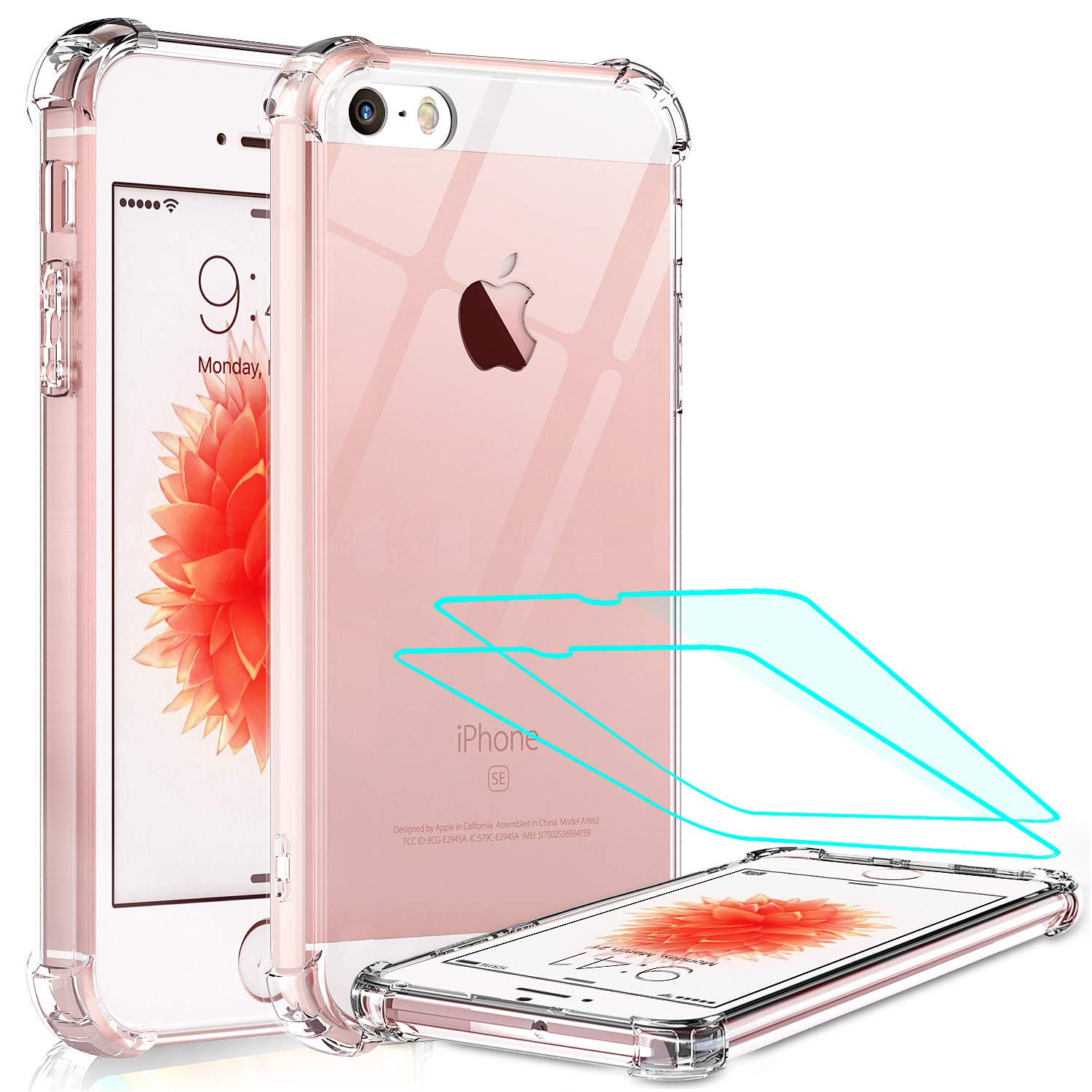 LeYi Compatible for iPhone SE Case (2016), iPhone 5S Case, iPhone 5 Case with 2 Tempered Glass Screen Protector, Crystal Clear Hard PC Soft TPU Shockproof Bumper Phone Cover Case for iPhone 5 / 5S