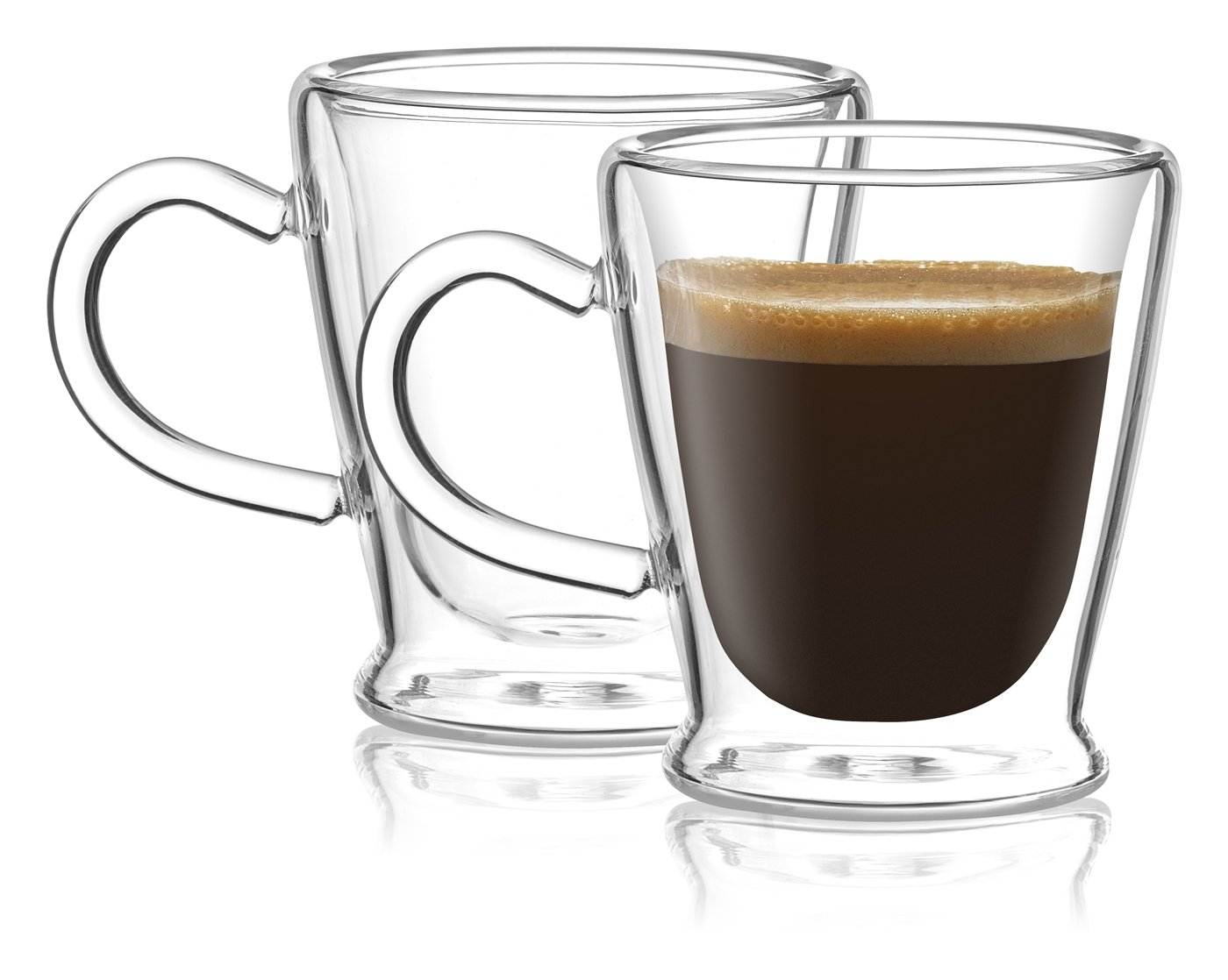 Circleware 44933 Insulated Heat Resistant Glass Coffee Mugs with Handle Set of 2, Beverage Drinking Home Kitchen Entertaining Tea Cappuccino Espresso Shots Glassware Cups, 2.6 oz, Clear by Circleware
