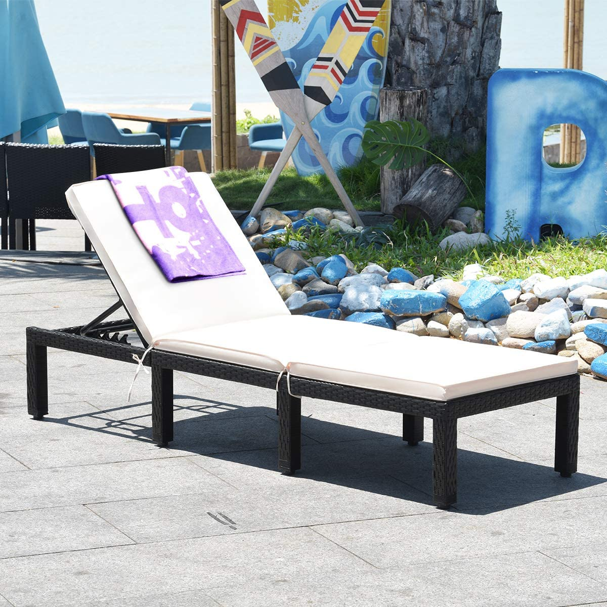 HAPPYGRILL Patio Rattan Lounge Chair Outdoor Adjustable Reclining Wicker Chaise Chair with Backrest Cushion