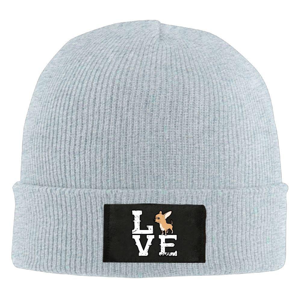 Amazon.com  IEHFE MCNXB Men Women Love Chihuahua Daily Beanie Hat Outdoor  Skull Cap Warm Hat Knitted Beanies  Clothing 6e7b69ebb6d