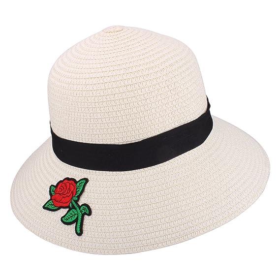 YOPINDO Sombrero de Paja para Mujer UPF 50+ Big Brim Sombrero de Playa  Plegable Summer d98c84d0f461