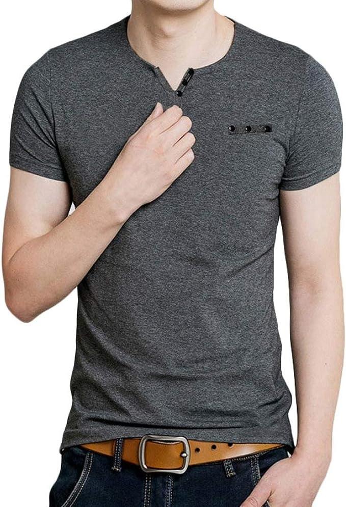 Yvelands Camisa de Manga Corta con Cuello en V de algodón Summer para Hombre Camiseta de Color sólido de Manga Corta, sin Mangas, ¡Liquidación: Amazon.es: Ropa y accesorios