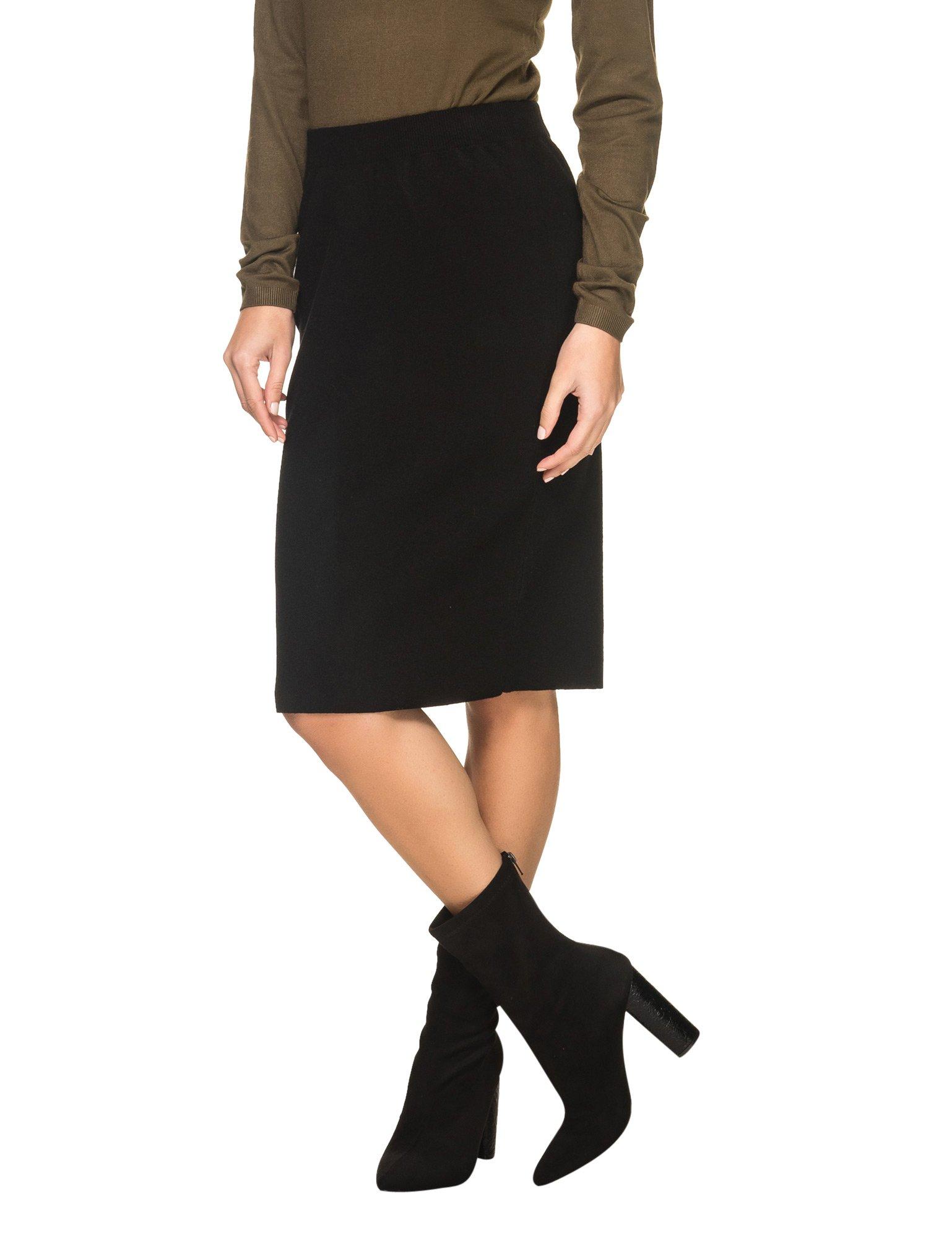 Ichi Women's Elements Women's Black Midi Skirt in Size L Black